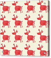 Red Reindeer Pattern Acrylic Print