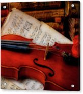 Red Rose And Violin With Sheet Music Acrylic Print