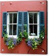 Red Wall With Windows, Charleston Acrylic Print