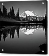 Reflection Of Mount Rainer In Calm Lake Acrylic Print