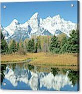 Reflection Of Mountains In Water, Grand Acrylic Print