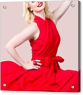 Retro Blond Pinup Woman Wearing A Red Dress Acrylic Print