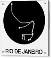 Rio De Janeiro Black Subway Map Acrylic Print