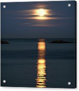 Rise Of The Full Harvest Moon Above Pacific Ocean Acrylic Print