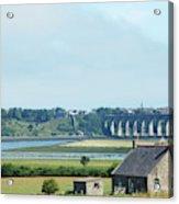 river and bridge towards Berwick upon Tweed scotland Acrylic Print