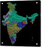 River Basins Of India In Rainbow Colours Acrylic Print
