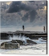 Rock Ledge, Spear Fishermen And Cloudy Seascape Acrylic Print