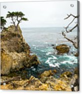 Rocky Cliff And Trees In Carmel Near Acrylic Print