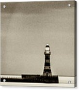 Roker Pier And Lighthouse In Sepia Acrylic Print