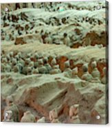 Rows Of Terra Cotta Warriors In Pit 1 Acrylic Print