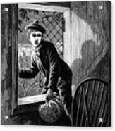 Runaway Boy Climbing Out Of A Window Acrylic Print