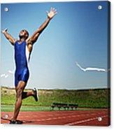 Runner Crossing Finish Line Acrylic Print