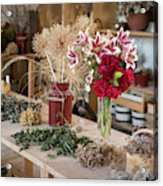 Rustic Wooden Table With Various Herbs And Flowers Acrylic Print