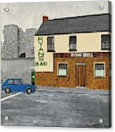 Ryans Pub And Swords Castle Painting Acrylic Print