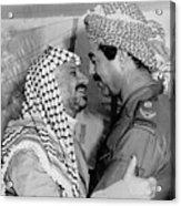 Saddam Hussein Greets Yasser Arafat Acrylic Print