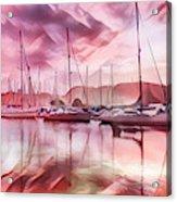 Sailboat Reflections At Sunrise Abstract Acrylic Print