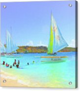 Sailboats At Sandy Ground In Anguilla  Acrylic Print