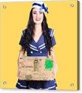 Sailor Pin Up Holding Nautical Supplies Acrylic Print