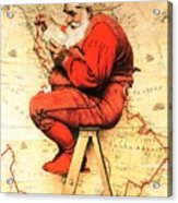 Santa At The Map Acrylic Print