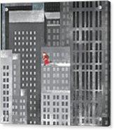 Santa Clause Running On A Skyscraper Acrylic Print