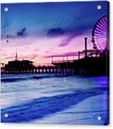 Santa Monica Pier With Ferris Wheel Acrylic Print