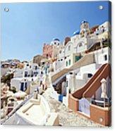 Santorini, Churches And Houses Acrylic Print