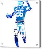 Saquon Barkley New York Giants Water Color Pixel Art 10 Acrylic Print