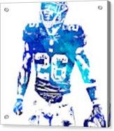 Saquon Barkley New York Giants Water Color Pixel Art 11 Acrylic Print