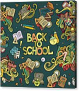 School And Education Doodles Hand Drawn Acrylic Print