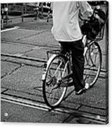 Schoolboy Bicycling Across Railroad Acrylic Print