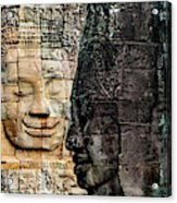 Sculptures At Bayon Temple, Angkor Acrylic Print