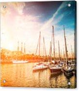 Sea Bay With Yachts At Sunset Acrylic Print