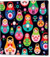 Seamless Colorful Retro Russian Doll Acrylic Print