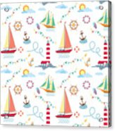 Seamless Marine Pattern With Ships Acrylic Print
