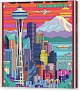 Seattle Poster - Pop Art Skyline Acrylic Print