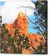 Sedona Adobe Jack Trail Blue Sky Clouds Trees Red Rock 5130 Acrylic Print