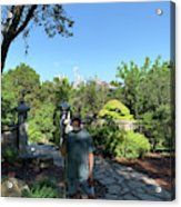 Self Portrait 20 - Aligned With A Half Moon Over Downtown Austin At Zilker Botanical Garden Acrylic Print