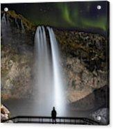 Seljalandsfoss Northern Lights Silhouette Acrylic Print