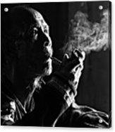 Senior Man Smoking Pipe, Vietnam Acrylic Print