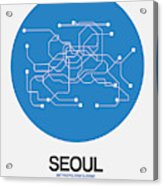 Seoul Blue Subway Map Acrylic Print