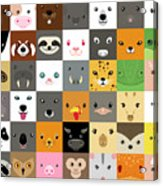 Set Of Cute Simple Animal Faces Acrylic Print