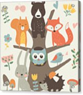 Set Of Forest Animals In Cartoon Style Acrylic Print