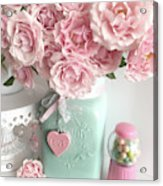 Shabby Chic Pink Roses In Aqua Mason Jar Romantic Cottage Floral Print Home Decor Acrylic Print