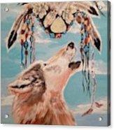 Shaman Mask And Wolf Acrylic Print