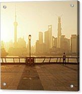 Shanghai Sunrise At Bund With Skyline Acrylic Print