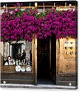 Showcase Full Of Purple Flowers In Acrylic Print