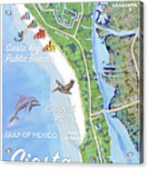 Siesta Key Illustrated Map Acrylic Print