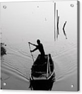 Silhouette Of A Boatman Rowing A Acrylic Print