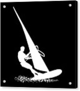 Silhouette Of A Sportsman Doing Windsurfing On His Board With Sail Acrylic Print
