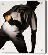 Silhouette Of Baseball Pitcher Holding Acrylic Print